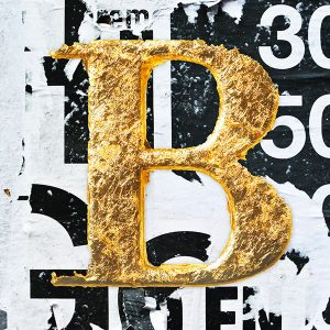 Gold Printed Letter B